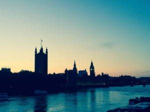 Sunset and the Palace of Westminster at the end of the tour.