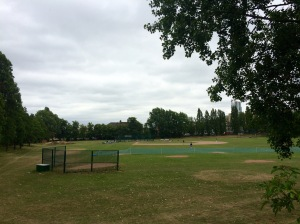 A sorry spectacle; baseball on what was once a fine cricket ground